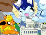 ambiguous_gender angry building city eeveelution feral flareon green_eyes jolteon macro nintendo pokémon sitting size_difference thirteen vaporeon video_games water wet