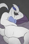 anthro bed biceps butt legendary_pokémon looking_at_viewer lugia lying male muscles nintendo nude pecs pillow plain_background pokémon pose raigo_dizzy red_eyes smile solo video_games   Rating: Questionable  Score: 10  User: BlackBoltEX  Date: April 30, 2013