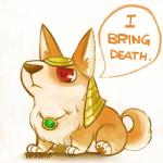 canine corgi cute dialog dog english_text feral gem hat headdress inkinesss jewelry league_of_legends lol_comments mammal nasus pendant red_eyes solo speech_bubbles text   Rating: Safe  Score: 64  User: Riazu  Date: September 21, 2013