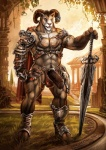 """2012 aaron_(character) abs anthro armor biceps big_penis bighorn_sheep brown_fur building bulge caprine chain cheetahpaws convincing_weapon cum fur general grass half-erect holding holding_weapon hooves horn humanoid_penis looking_at_viewer male mammal melee_weapon muscles nude outside pecs penis pose sheep solo standing sword tree unconvincing_armor vein warrior weapon wood  Rating: Explicit Score: 53 User: Kerrija Date: March 16, 2012"""""""