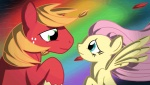 """animated big_macintosh_(mlp) blue_eyes duo equine female feral fluttershy_(mlp) freckles friendship_is_magic green_eyes hair long_hair male mammal my_little_pony orange_hair pegasus pink_hair rainbow twodeepony wings  Rating: Safe Score: 17 User: Dogenzaka Date: April 02, 2012"""""""