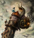 alice_(alice_in_wonderland) alice_in_wonderland alice_liddell amazing ambiguous_gender american_mcgee's_alice avian bird duo female feral flying gastropod hi_res human ken_wong knife mammal snail steampunk tower video_games