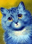 ambiguous_gender blue_fur blue_nose domestic_cat felid feline felis fur license_info louis_wain low_res mammal portrait public_domain simple_background solo traditional_media_(artwork) whiskers yellow_background yellow_eyes