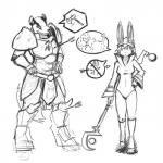 2013 armor badger clothed clothing dialog female lagomorph magic_user male mammal mustelid packmind plain_background rabbit silly text warrior weapon white_background   Rating: Safe  Score: 2  User: digiangel234  Date: February 02, 2014