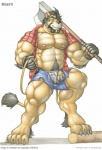 abs anthro axe biceps big_muscles bottomwear braford bulge claws clothed clothing facial_hair felid flaccid fur holding_object holding_weapon kurt_(braford) lion male mammal melee_weapon musclegut muscular muscular_male nipples open_shirt pantherine pecs penis pubes shirt shorts slightly_chubby solo toe_claws toes topwear torn_clothing underwear vein weapon