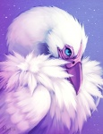 2012 ambiguous_gender blue_eyes digital_media_(artwork) falvie feathers feral purple_theme solo star unknown_species white_feathers