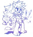 barefoot chibi clothing cute_fangs feline ice leo_(whiteleo) lion loincloth magic male mammal mane monochrome open_mouth scarf solo standing water whiteleo  Rating: Safe Score: 1 User: Circeus Date: January 27, 2016