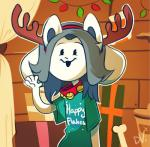 2015 anthro bell bone canine christmas clothing collar curtains decoration devillefort feline gift grey_hair hair holidays hybrid long_ears mammal shelf solo tag tem temmie_(undertale) undertale video_games