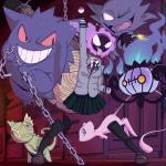 absurd_res bomb chain chandelure explosives gastly gengar hagakure_tooru haunter hi_res human invisible kecleon legendary_pokémon mammal mew my_hero_academia nintendo pokémon pokémon_(species) tree_log video_games zeaw90