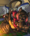 anthro ass_up bat black_fur black_hair blue_eyes blush breast_squish breasts breasts_frottage camping cat ciara_claire claws clothing cuddling digital_media_(artwork) duo feline female female/female flying_fox foreshortening fur fur_dye green_eyes hair hand_on_hip inner_ear_fluff licking long_hair lying mammal markings on_back paws pounce raining raised_tail romantic shirt skirt sky_gunawan socks_(marking) sport tent toe_claws tongue tongue_out vallhund wings yellow_fur  Rating: Questionable Score: 53 User: cybergrinkle Date: February 10, 2016