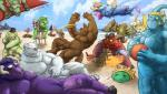 alistar_(lol) aurelion_sol_(lol) azir_(lol) beach beard black_nose blue_sclera canid canine canis casual_nudity clothing cloud crocodile crocodilian crocodylid erection eyewear facial_hair facial_piercing floating frisbee fur galio_(lol) galrock genitals glasses gloves hair handwear hat headgear headwear hooves horn humanoid_genitalia humanoid_penis jackal league_of_legends lying male malphite_(lol) mammal mile monster murid murine muscular muscular_male nasus_(lol) nautilus_(lol) nipples nose_piercing nose_ring nude on_back open_mouth ornn_(lol) outsides penis piercing polar_bear purple_body purple_fur purple_hair rammus_(lol) rat red_eyes red_sclera renekton reptile ring riot_games rodent scales scalie seaside sky tahm_kench_(lol) teeth tongue tongue_out twitch_(lol) umbrella ursid ursine video_games volibear water white_body white_fur yellow_sclera zac_(lol)