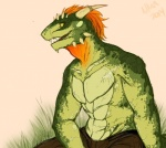 2014 anthro argonian clothed clothing digital_media_(artwork) grass green_scales hair half-dressed horn_ring male nostalgia-phantom open_mouth orange_hair pants scalie sharp_teeth sitting solo spikes teeth the_elder_scrolls topless video_games   Rating: Safe  Score: 11  User: RedRider  Date: December 19, 2014