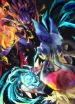 2014 ambiguous_gender combat duo henjaku lucario mega_evolution mega_lucario nintendo pokémon red_eyes spikes video_games   Rating: Safe  Score: 7  User: wous  Date: July 07, 2014