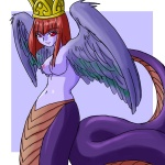 1:1 baalsama breasts crown feathered_snake feathered_wings feathers female hair humanoid lamia looking_aside looking_at_viewer nipples non-mammal_breasts purple_body purple_bonus purple_feathers purple_scales purple_skin red_hair reptile scales scalie serpentine smile snake solo spread_wings wings