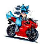 ambiguous_gender blush canine lucario mammal motorcycle nintendo pokémon r0ad_junkie riding semi-anthro simple_background solo spikes straddling vehicle video_games white_background