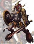 2014 abs anthro armor arrow beard belt biceps big_muscles bovine cattle chaos-draco clenched_teeth clothed clothing ear_piercing facial_hair facial_piercing fur green_eyes grey_fur grey_nipples hair half-dressed hooves horn male mammal muscles nipples nose_piercing nose_ring pecs piercing pose red_hair scar shield solo standing sword teeth toned topless vein weapon   Rating: Safe  Score: 6  User: Numeroth  Date: November 25, 2014