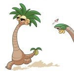 ! 2016 <3 alolan_exeggutor ambiguous_gender cubewatermelon dinosaur duo feral flora_fauna half-closed_eyes multi_head nintendo plant pokémon regional_variant simple_background smile tropius video_games white_background