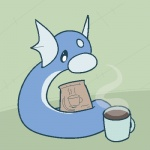 aliasing ambiguous_gender beverage blue_scales coffee coffee_mug cup cute dratini feral fin flat_colors frill head_fin head_frill hidden_mudkip looking_at_viewer low_res nintendo nude outside pokémon pokémon_(species) scales serpentine solo steam video_games white_scales