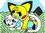 baby climbing_on cute diaper duo laying_on male nintendo oshawott outside pacifier pichu pokémon scarf video_games young   Rating: Safe  Score: 3  User: Oshawott222  Date: June 02, 2014