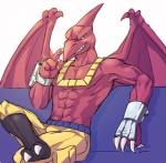 abs alasurth anthro armor barefoot belt biceps bullseye claws clothed clothing dinosaur extreme_dinosaurs fangs gloves grey_eyes grin half-dressed horn looking_at_viewer male muscles pants pecs pose pterodactyl raised_leg red_skin reptile scales scalie shorts sitting smile solo teeth toe_claws toned topless wings   Rating: Safe  Score: 6  User: DeltaFlame  Date: February 18, 2015