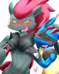 <3 ambiguous_gender black_fur blue_eyes blue_fur blush breast_grab breast_squish breasts canine cleavage clothed clothing eyes_closed female fondling fur grey_fur grope hair hitsojitaro long_hair lucario mammal nintendo open_mouth plain_background pokémon red_hair saliva sweat tuft video_games zoroark   Rating: Questionable  Score: 4  User: DeltaFlame  Date: March 16, 2015