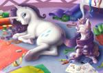 2015 blue_eyes bluespaceling chalk crayons cub cutie_mark duo equine eyes_closed eyeshadow fabric female feral friendship_is_magic hair half-closed_eyes happy hi_res hooves horn inside long_hair lying makeup mammal my_little_pony on_side open_mouth paper purple_hair rarity_(mlp) scissors sibling sisters sitting smile spool sweetie_belle_(mlp) two_tone_hair underhoof unicorn young   Rating: Safe  Score: 21  User: lemongrab  Date: March 29, 2015
