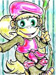 3_toes barefoot blonde_hair brown_fur clothing dixie_kong donkey_kong_(series) female fur green_eyes hair hat jewelry long_hair mammal monkey nintendo ponytail primate smile solo thweatted toes video_games vines   Rating: Safe  Score: 1  User: Cαnε751  Date: April 22, 2015