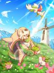 ambiguous_gender architecture brown_eyes chesnaught cloud flower grass green_eyes legendary_pokémon mammal mountain nintendo open_mouth outside plant pokémon rasuku@07_(artist) rodent shaymin size_difference sky smile teeth tongue video_games windmill  Rating: Safe Score: 6 User: DeltaFlame Date: December 09, 2014