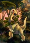 amber_eyes ambiguous_gender bayleef detailed_background digital_media_(artwork) eating feral forest grass haychel nature nintendo open_mouth outside pokémon pokémon_(species) solo standing tongue tree video_games