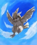 ambiguous_gender avian beak bird cloud cloudscape feathered_wings feathers feral flying nintendo outside pidgey pokémon sky solo talons tama0412 video_games wings