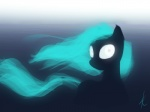2012 4:3 equid equine female feral gradient_background green_hair hair horse looking_at_viewer mammal my_little_pony pony raikoh-illust silhouette simple_background solo white_eyes