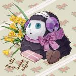 <3 abstract_background animal_crossing argyle_(pattern) birthday black_lipstick bow bust_portrait candy caprine chocolate curled_horns digital_media_(artwork) eyelashes female flower food frilly fur gothic_lolita handa_(artist) horn kemono lace leaf lipstick lolita_(fashion) maid_headdress makeup mammal muffy_(animal_crossing) multicolored_fur multicolored_horn nintendo pink_clothing plant portrait purple_horn purple_stripes scarf semi-anthro sheep side_view solo striped_horn stripes teal_eyes teal_pupils two-tone_horn two_tone_fur video_games white_clothing white_fur wool