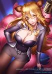 <3 ahri animal_humanoid belt blonde_hair canine citemer cleavage clothed clothing collar cute dress facial_markings female fox fox_humanoid hair humanoid league_of_legends mammal markings microphone multiple_tails simple_background solo thigh_gap video_games yellow_eyes  Rating: Safe Score: 12 User: Munkelzahn Date: October 04, 2015