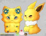 2014 :3 arachnid arthropod blue_eyes blush cupcakes cute digital_media_(artwork) duo eeveelution english_text female flower fur jolteon joltik male mammal nintendo plant pokémon simple_background tesvp text video_games yellow_eyes yellow_fur  Rating: Safe Score: 2 User: RebeccaShy Date: June 05, 2015