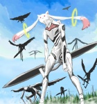 ambiguous_gender crossover fusion kyubey machine mass_production_eva mecha neon_genesis_evangelion outside puella_magi_madoka_magica sky what_has_science_done yrafy  Rating: Safe Score: 4 User: anthroking Date: August 22, 2013
