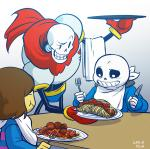 animated_skeleton bone chef eating food fork fruit hat human hybrid knife male mammal meatballs not_furry papyrus_(undertale) pasta plate protagonist_(undertale) sans_(undertale) skeleton spaghetti spewspew tomato undead undertale video_games  Rating: Safe Score: 23 User: Marowaque Date: March 15, 2016