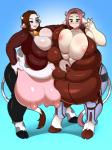 2015 anthro areola bell big_breasts big_nipples bovine breasts brown_hair cattle cleavage clothed clothing collar deztyle duo female fur grey_fur hair hooves horn huge_breasts lips looking_down mammal multi_breast nails navel nipples obese overweight pants red_eyes short_hair smile spots standing tail_tuft teats tight_clothing tuft udders white_fur  Rating: Questionable Score: 8 User: Fur_in_the_dark Date: January 01, 2016