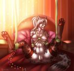 anthro anus areola bdsm bed bondage bound breasts clothing eleacat feline female hands_behind_back hi_res inside legwear leopard looking_at_viewer mammal navel nipples pussy smile snow_leopard solo spread_legs spreading thigh_highs  Rating: Explicit Score: 25 User: EmoCat Date: February 02, 2016