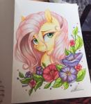 2016 dennyvixen equine female feral flower fluttershy_(mlp) friendship_is_magic fur green_eyes hair horse looking_at_viewer mammal my_little_pony photo pink_hair plant pony portrait smile solo traditional_media_(artwork) yellow_fur  Rating: Safe Score: 9 User: ConsciousDonkey Date: April 29, 2016