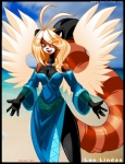 anthro big_breasts black_fur blonde_hair breasts brown_fur chalo clothed clothing female fur grey_eyes hair las_lindas mammal messiah red_panda smile solo wings   Rating: Questionable  Score: 9  User: qwertyzzz18c  Date: February 27, 2015