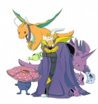 anthro armor asgore_dreemurr beard blonde_hair cape caprine clothing crossover dragonite facial_hair feral group hair horn jazzycat mammal membranous_wings nidoking nidoran nidoran♀ nidoran♂ nintendo pokémon simple_background undertale video_games vileplume watering_can watermark white_background wings