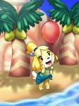 animal_crossing anthro balloon beach brown_eyes canine clothing coconut dog female hi_res isabelle_(animal_crossing) looking_at_viewer mammal nintendo outside scittykitty seaside shih_tzu solo swimsuit tree video_games  Rating: Safe Score: 4 User: Juni221 Date: October 06, 2014