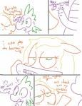applejack_(mlp) comic dialogue english_text equine friendship_is_magic horse mammal monochrome my_little_pony pony random scalie sex spike_(mlp) talking_penis text the_weaver what   Rating: Explicit  Score: 2  User: Hydrophilicguy  Date: May 18, 2015