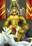 anthro duo evil_grin fellatio gay helmet horn male oral oral_sex penis rape_face sex smile spazzyhusky the_elder_scrolls thick_penis throne video_games wings   Rating: Explicit  Score: 6  User: Riversyde  Date: March 02, 2012