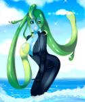 blush breasts cleavage clothed clothing cute female full-body_suit green_eyes hi_res liminal_(species) looking_at_viewer monster monster_girl monster_musume slime smile solo standing suu_(monster_musume) tentacle_hair tentacles water  Rating: Questionable Score: 9 User: Key_Chain Date: January 24, 2016