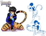 anthro black_fur feline fur girly hair looking_at_viewer male mammal orange_fur pink_eyes sex_toy short_hair sitting sketch socks tiger tokifuji tong   Rating: Questionable  Score: 5  User: king_snake  Date: July 20, 2014