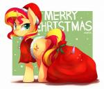 2014 bag blonde_hair blue_eyes christmas clothing cutie_mark english_text equestria_girls equine female feral hair hat holidays horn mammal marenlicious my_little_pony red_hair sack santa_hat solo sunset_shimmer_(eg) sweat text two_tone_hair unicorn   Rating: Safe  Score: 10  User: 2DUK  Date: December 28, 2014