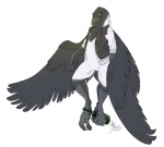 alcohol amber_eyes anthro avian beak beverage bird bottle bottomless chubby clothed clothing digitigrade feathers food grey_feathers grostenmeiers half-dressed magpie male open_shirt prehensile_feet shirt simple_background solo talons vest white_background wide_hips wine wings  Rating: Safe Score: 7 User: Gogolus Date: July 06, 2014