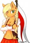 anthro anthrofied applejack_(mlp) blonde_hair breasts cleavage clothed clothing daxhie earth_pony equine female freckles friendship_is_magic green_eyes hair horse looking_at_viewer mammal midriff my_little_pony poland pony skimpy skirt solo tumblr  Rating: Safe Score: 40 User: Daxhie Date: May 10, 2014