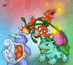 abstract_background all_fours ambiguous_gender anthro charmeleon claws fire flora_fauna footpaws_(artist) group hindpaw ivysaur laugh nintendo open_mouth paws plant pokémon reptile scalie smile standing tears tongue turtle video_games vines wartortle water wings   Rating: Safe  Score: 2  User: UNBERIEVABRE!  Date: June 23, 2014